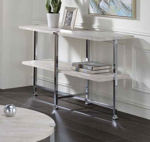 Acme 83213 Foundry select cerie brecon white oak finish wood top chrome metal frame sofa entry hall console table