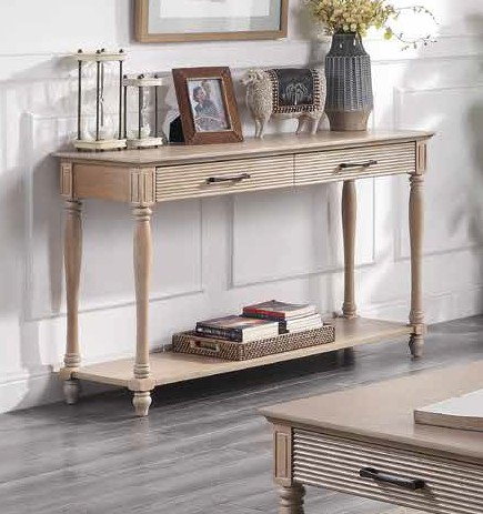 Acme 83223 Ebern designs salamone ariolo antique white finish wood sofa entry hall console table