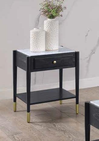 Acme 83227 Highland dunes fleck atalia black finish wood marble top end table