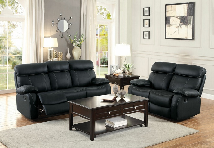 HE-8326BLK-SL 2 pc pendu collection contemporary style black top grain leather match motion sofa and love seat set