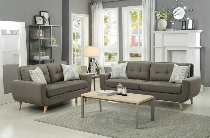 HE-8327GY-SL 2 pc deryn collection grey fabric upholstered sofa and love seat set with curved arms