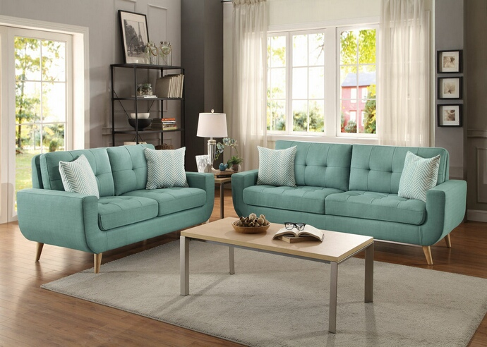HE-8327TL-SL 2 pc deryn collection teal fabric upholstered sofa and love seat set with curved arms