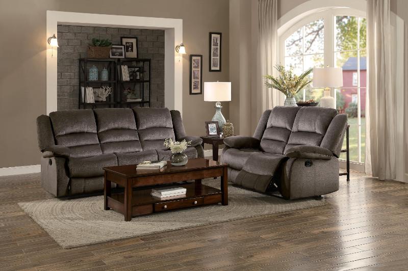 Home Elegance HE-8329CH-SL 2 pc Jarita chocolate fabric sofa and love seat set recliner ends