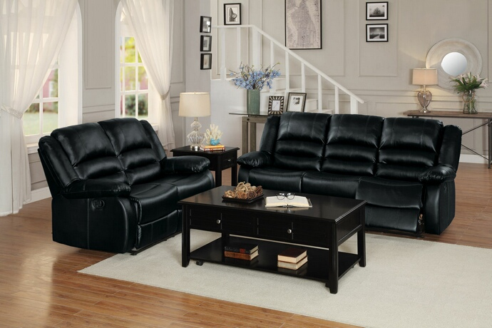 HE-8329BLK-SL 2 pc jarita collection black bi cast vinyl upholstered sofa and love seat with recliner ends