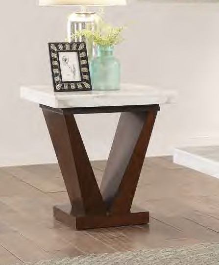 Acme 83337 Wrought studio asuncion forbes walnut finish wood white marble top end table