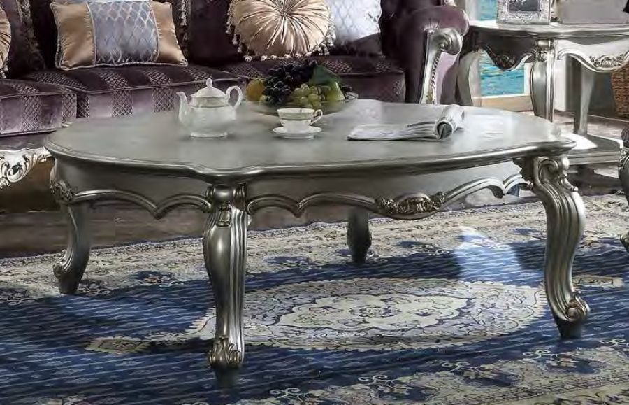 Acme 83465 Rosdorf park caiden picardy antique platinum finish wood carved accents coffee table