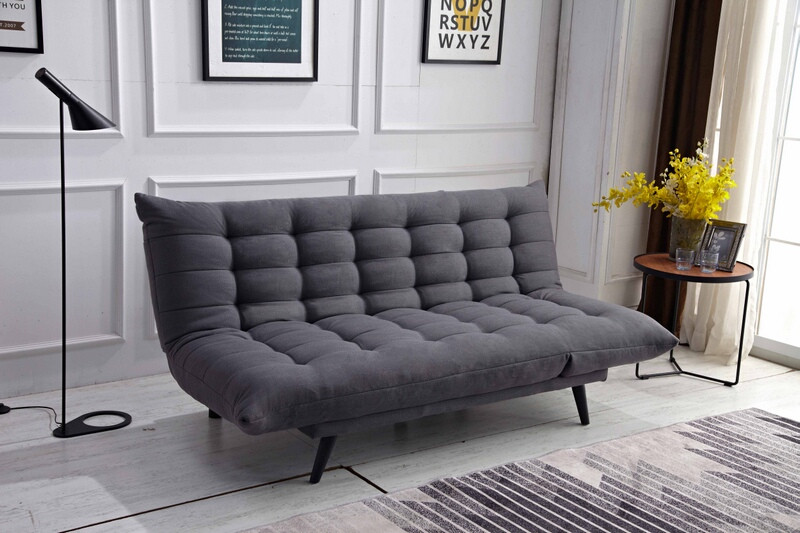 MGS 8355-DG Ophelia dark gray fabric click clack folding futon sofa bed lounge