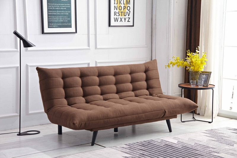 MGS 8358-BR Ophelia brown fabric click clack folding futon sofa bed lounge
