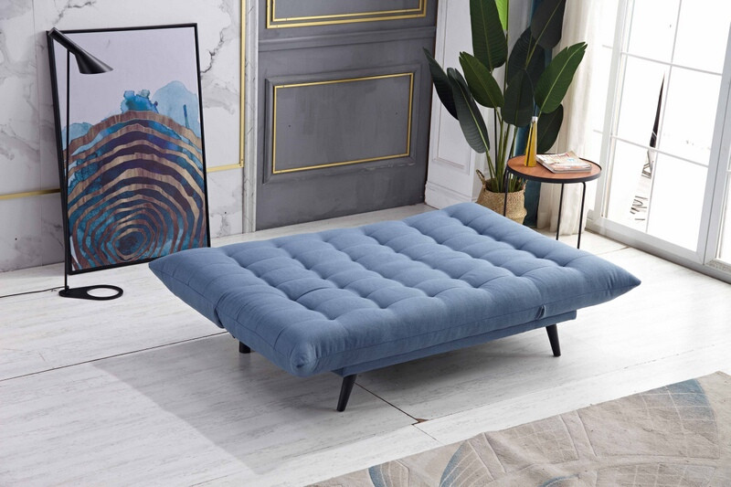MGS 8359-BL Ophelia blue fabric click clack folding futon sofa bed lounge