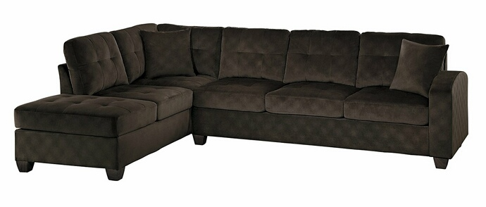 HE-8367CH-2pc 2 pc emilio collection chocolate textured microfiber upholstered reversible sectional sofa set