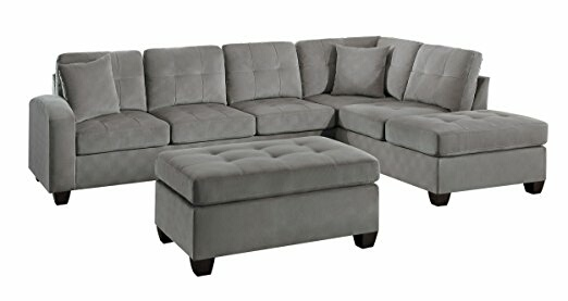 HE-8367TP-2PC 2 pc emilio collection taupe textured microfiber upholstered reversible sectional sofa set