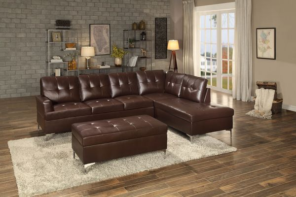 HE-8378BRW-2pcSEC 2 pc barrington collection brown vinyl upholstered sectional sofa set with chrome modern legs