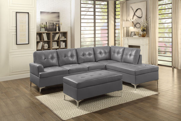 HE 8378GRY 2pcSEC 2 Pc Barrington Collection Gray Vinyl Upholstered  Sectional Sofa Set With