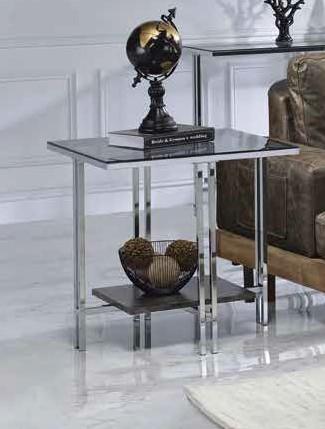 Acme 83927 Orren ellis latonia liddell chrome finish frame glass legs end table