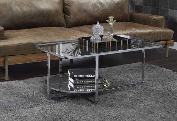 Acme 83930 Orren ellis latonia hollo chrome finish frame glass legs coffee table