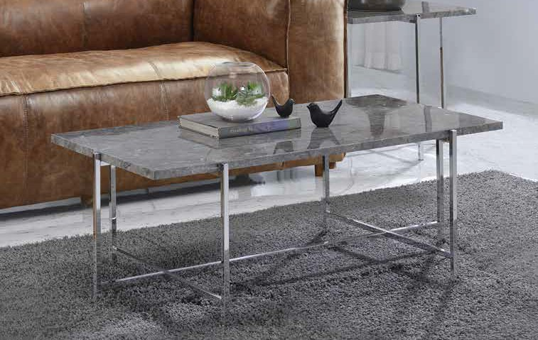 Acme 83935 Andrew home studio nadia adelae faux marble top chrome finish frame coffee table