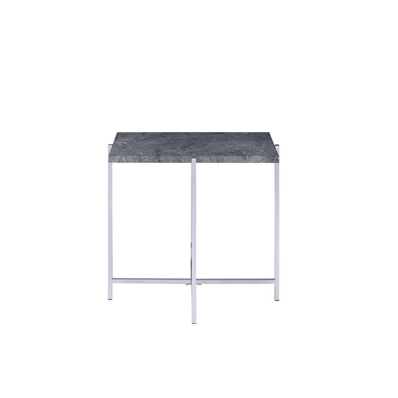 Acme 83937 Andrew home studio nadia adelae faux marble top chrome finish frame end table