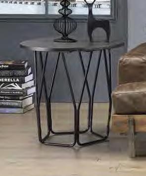 Acme 83952 Ebern designs ebru sytira espresso top black finish frame round end table
