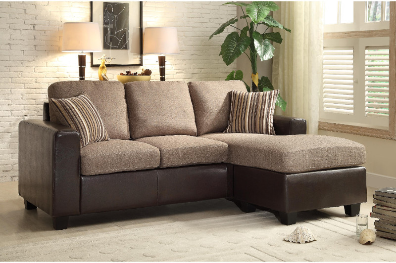 2 pc Slater two tone greyish brown fabric and brown vinyl reversible sectional sofa set