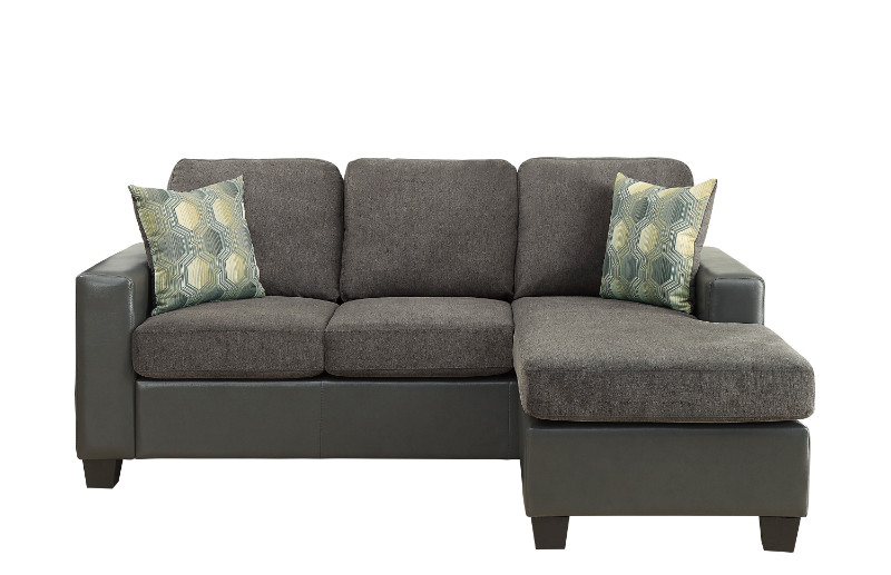 Home Elegance HE-8401GY-3SC 2 pc Slater two tone gray fabric and gray vinyl reversible sectional sofa set