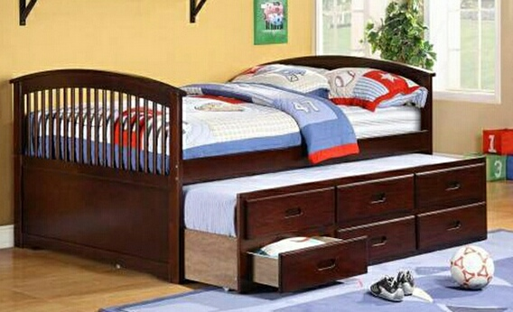 AD-8411 Espresso finish full size captain bed with twin trundle and 3 drawers