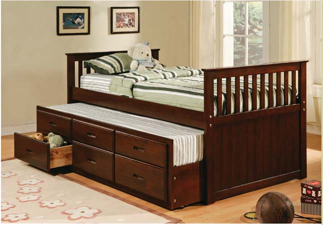 AD-8420-ESP Captains collection Mission style espresso finish wood twin size storage trundle bed
