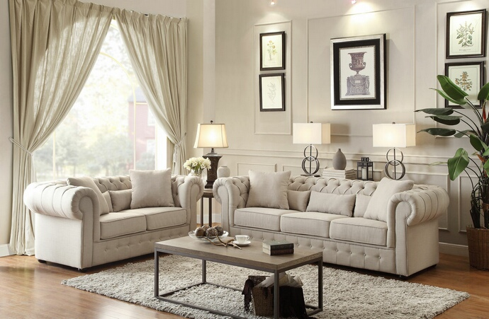 HE-8427-SL 2 pc savonburg collection neutral tone faux linen fabric upholstered sofa and love seat set with tufted backs