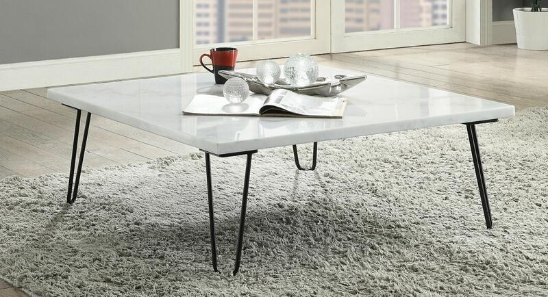 Acme 84500 Brayden studio canyonville telestis white marble black finish frame square coffee table