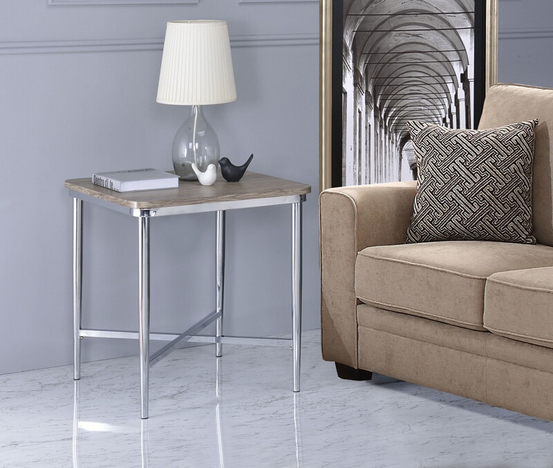 Acme 84632 Lukey weathered oak finish wood chrome metal chair side end table
