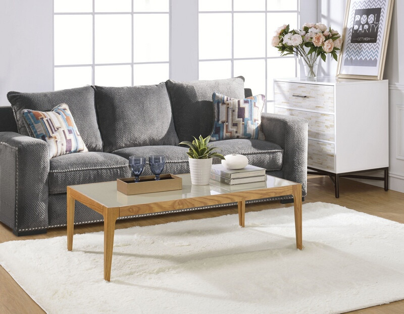Acme 84665 Latitude run ardie gwynn natural finish wood frosted glass top coffee table