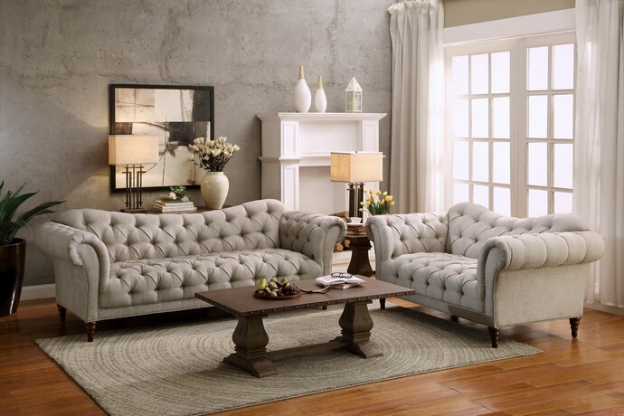 HE-8469-SL 2 pc st claire collection brown tone herringbone patterned fabric upholstered sofa and love seat set with tufted backs