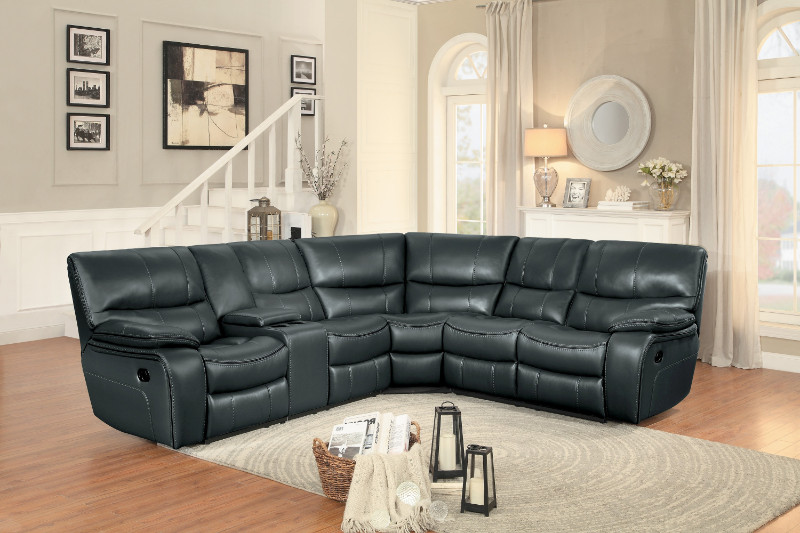 Home Elegance HE-8480GRY-3SC 3 pc pecos grey leather gel match sectional sofa with recliner ends