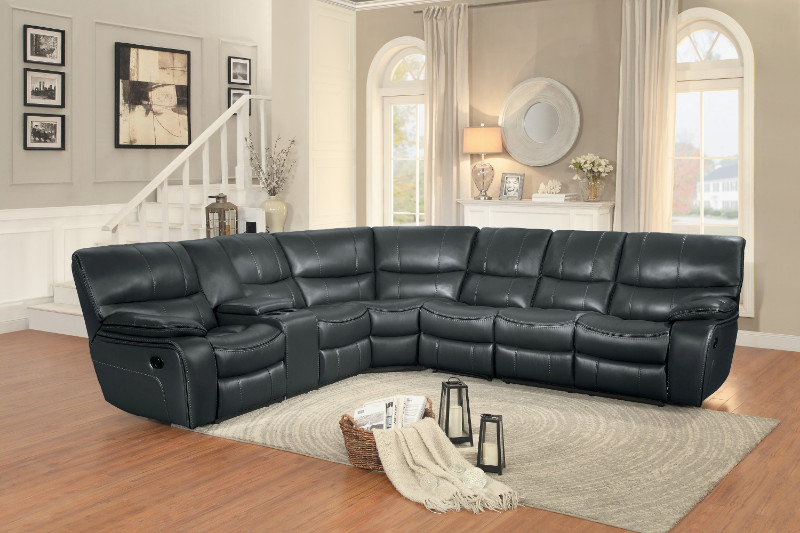 Home Elegance HE-8480GRY-4SC 4 pc pecos grey leather gel match sectional sofa with recliner ends