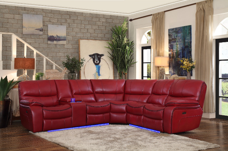 Homelegance HE-8480RED-3SCPD 3 pc pecos red leather gel match sectional  sofa power motion recliner ends