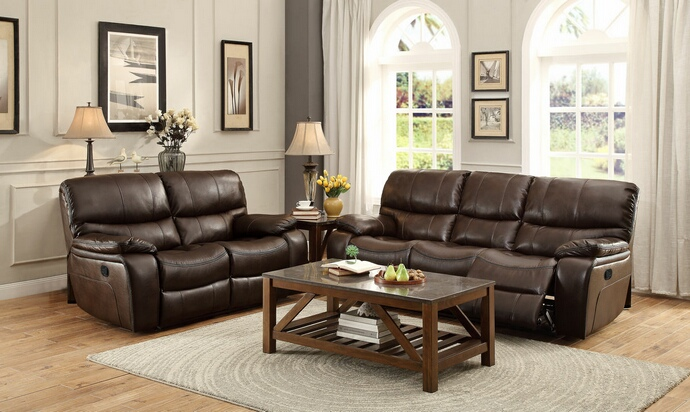 HE-8480BRW-SL 2 pc pecos collection contemporary style brown leather gel match motion sofa and love seat set