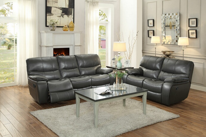 HE-8480GRY-SL 2 pc pecos collection contemporary style grey leather gel match motion sofa and love seat set