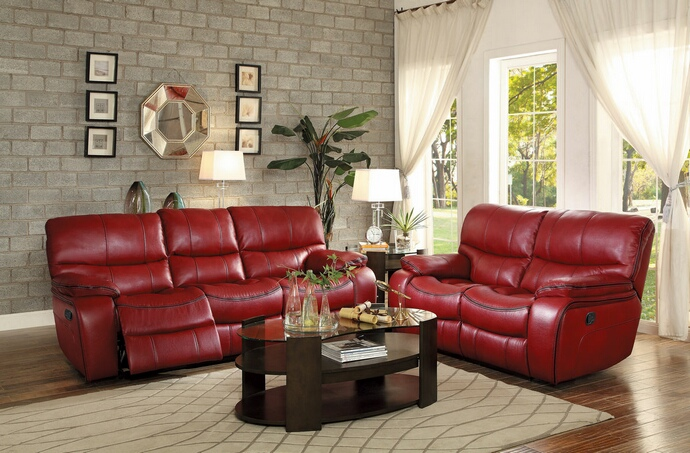HE-8480RED-PM-SL 2 pc Pecos Collection contemporary style red leather gel match power motion sofa and love seat set