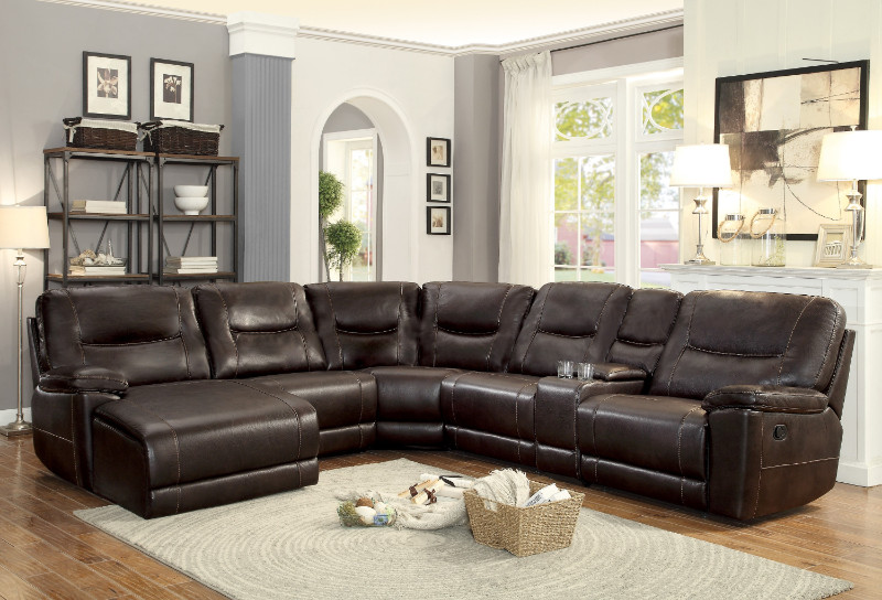 Home Elegance HE-8490-6pc 6 pc Columbus dark brown leather gel match sectional sofa with chaise and recliners