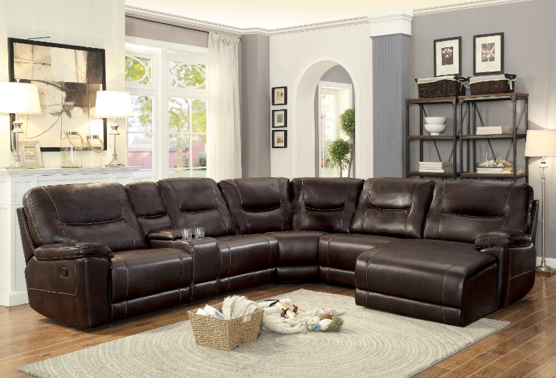 Home Elegance HE-8490-6pcA 6 pc Columbus dark brown leather gel match sectional sofa with chaise and recliners