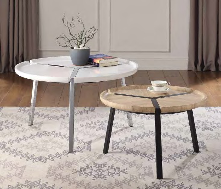 Acme 84910 2 pc Brayden studio barnsdale casia modern natural and white high gloss finish round coffee table set