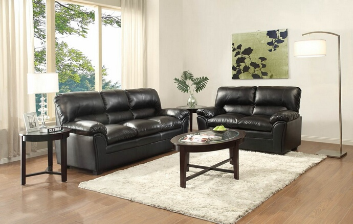 HE-8511BK-SL 2 pc Talon collection black bonded leather upholstered sofa and love seat set with overstuffed arms
