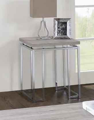Acme 85372 17 stories gambier chafik natural oak finish wood chrome metal frame end table