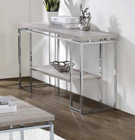 Acme 85373 17 stories gambier chafik natural oak finish wood chrome metal frame sofa entry hall console table