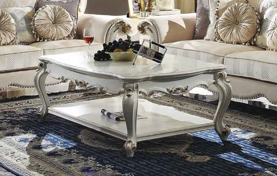 Acme 85460 Rosdork park severine picardy II antique pearl finish wood carved accents square coffee table