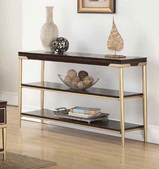 Acme 85963 Darby home co eschenbach cherry finish wood gold metal frame sofa entry hall console table