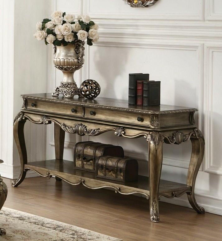 Acme 86033 Ragenardus vintage oak finish wood sofa entry console table