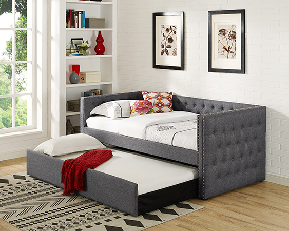 Suzanne II collection grey tufted linen like fabric upholstered twin size day bed with trundle