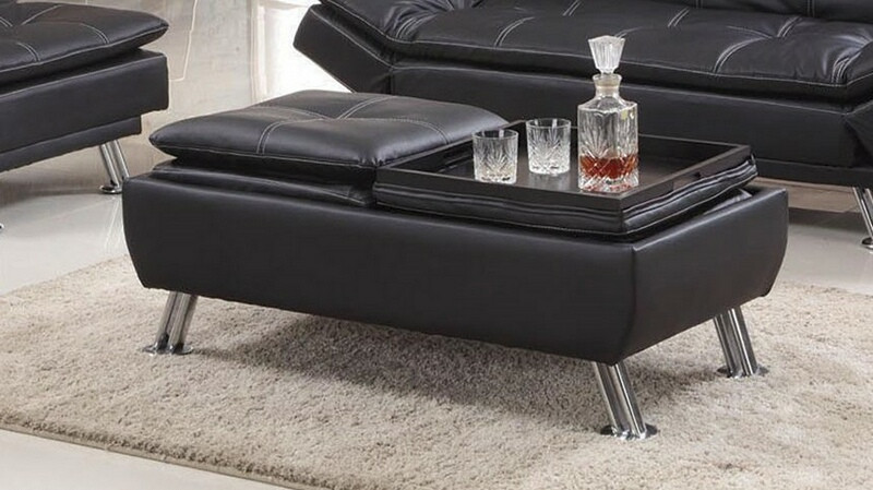 Asia Direct 8633-BK Black faux leather accented stitching tufted flip top tray ottoman
