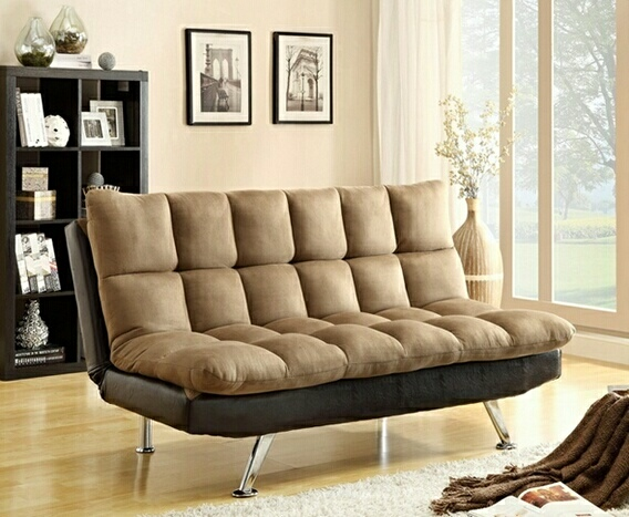 8635 2 Tone Espresso PU and Brown Easy Rider Finish Quilted Upholstered Padding Adjustable Futon Sofa