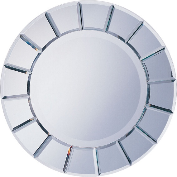 "CST8637 Sun shaped beveled glass design modern art style design wall mirror.   Measures 30"" x 30"" ."
